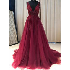 A-Line/Princess V-neck Sweep Train Prom Dresses With Ruffle Beading (018219266)
