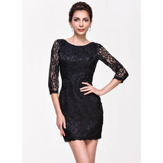 Forme Fourreau Col rond Dentelle Robes de cocktail (016065503)
