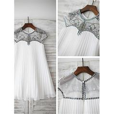 Scoop Neck A-Line/Princess Flower Girl Dresses Tulle Beading/Appliques Sleeveless Knee-length