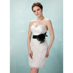 Sheath/Column Sweetheart Short/Mini Cocktail Dresses With Ruffle Sash Flower(s) (016008406)