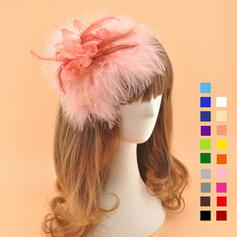 Damer' Elegant Batist med Fjäder Fascinators