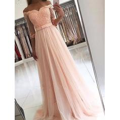 A-Line/Princess Tulle Prom Dresses Sash Beading Off-the-Shoulder 3/4 Sleeves Sweep Train (018148412)