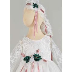 Tulle Col rond Dentelle Robes de baptême bébé fille avec Manches longues (2001217422)