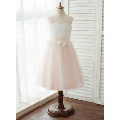 A-Line/Princess Tea-length Flower Girl Dress - Tulle/Lace Sleeveless Straps With Appliques (010122562)