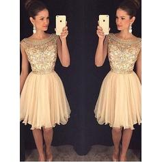 A-Line/Princess Scoop Neck Tulle Sleeveless Knee-Length Beading Sequins Cocktail Dresses