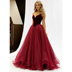 Tulle Sleeveless A-Line/Princess Prom Dresses Sweetheart Floor-Length