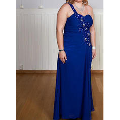 Chiffon Sleeveless Mother of the Bride Dresses One-Shoulder A-Line/Princess Beading Floor-Length