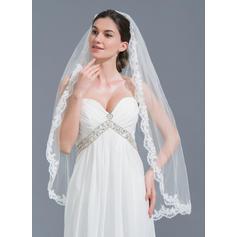 Fingerspitze Braut Schleier Tüll Einschichtig Ovale mit Spitze Saum Brautschleier
