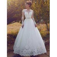 Ball-Gown Scoop Floor-Length Wedding Dresses With Lace Sash Crystal Brooch