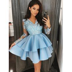 A-Line/Princess Short/Mini Homecoming Dresses V-neck Satin Long Sleeves (022212436)