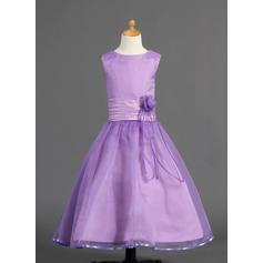 Princess Ankle-length A-Line/Princess Flower Girl Dresses Scoop Neck Organza/Charmeuse Sleeveless