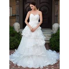 Lujoso Sin mangas Corazón con Satén Organdí Vestidos de novia (002210508)