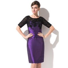 Sheath/Column Taffeta Lace 1/2 Sleeves Scoop Neck Knee-Length Zipper Up Mother of the Bride Dresses (008211114)