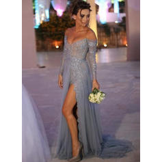 A-Line/Princess Off-the-Shoulder Sweep Train Evening Dresses With Beading Sequins Split Front