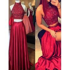 A-Line/Princess Satin Prom Dresses Sequins High Neck Sleeveless Floor-Length (018210194)