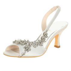 Frauen Satin Spule Absatz Peep-Toe Sandalen mit Strass