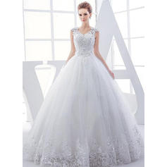 V-neck Tulle Sleeveless Beautiful Wedding Dresses