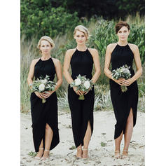 Chiffon Asymmetrical Scoop Neck Sheath/Column Bridesmaid Dresses