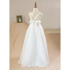 A-Line/Princess Floor-length Flower Girl Dress - Organza/Satin/Lace Sleeveless Scoop Neck With Lace (010094118)