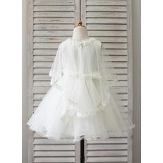 Forme Princesse Longueur genou Robes à Fleurs pour Filles - Satiné/Tulle Sans manches Col rond avec Dentelle/Motifs appliqués Dentelle (010090652)