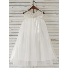 A-Line/Princess Knee-length Flower Girl Dress - Tulle Sleeveless Scoop Neck With Beading