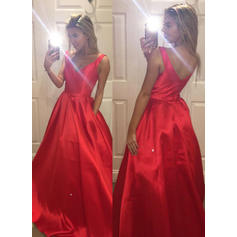 Satin Sleeveless A-Line/Princess Prom Dresses V-neck Ruffle Sweep Train