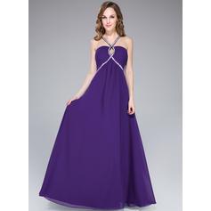 Gasa Tirantes espagueti Escote en V Corte imperial Vestidos de baile de promoción (018047513)