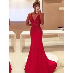 Satin Sleeveless Sheath/Column Prom Dresses V-neck Appliques Lace Sweep Train