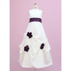 Flattering Floor-length A-Line/Princess Flower Girl Dresses Scoop Neck Satin Sleeveless