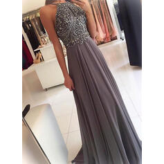 A-Line/Princess Sweep Train Prom Dresses Scoop Neck Chiffon Sleeveless (018145580)