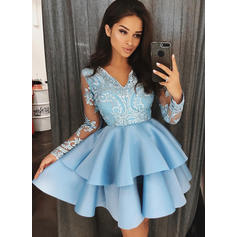 A-Line/Princess Short/Mini Homecoming Dresses V-neck Satin Long Sleeves (022212436)