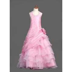 Sweetheart Floor-length Ball Gown Flower Girl Dresses Scoop Neck Taffeta/Organza Sleeveless