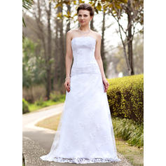 A-Line/Princess Ruffle Lace Sweep Train Three-dimensional Wedding Dresses (002000127)