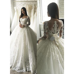 Magnificent Tulle Wedding Dresses Ball-Gown Court Train Scoop Long Sleeves (002213511)