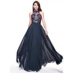 A-Line/Princess High Neck Floor-Length Chiffon Evening Dress With Lace Beading Sequins (017065548)