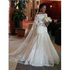 Newest Court Train Trumpet/Mermaid Wedding Dresses Off-The-Shoulder Tulle Long Sleeves