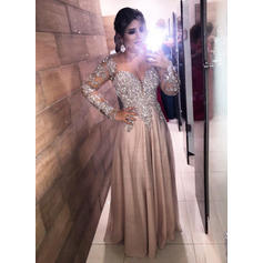 A-Line/Princess V-neck Chiffon Long Sleeves Floor-Length Beading Sequins Evening Dresses