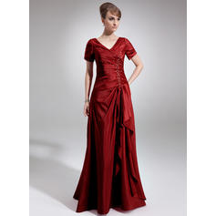 A-Line/Princess Taffeta Short Sleeves V-neck Floor-Length Zipper Up Mother of the Bride Dresses (008006337)