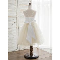 Forme Princesse Longueur genou Robes à Fleurs pour Filles - Satiné/Tulle Sans manches Col rond avec V retour (010164722)