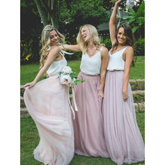 A-Line/Princess Chiffon Tulle Bridesmaid Dresses V-neck Sleeveless Floor-Length (007145124)