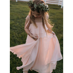 Square Neckline/Straps A-Line/Princess Flower Girl Dresses Ruffles Sleeveless Floor-length