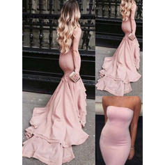 Trumpet/Mermaid Court Train Prom Dresses Strapless Satin Sleeveless (018146580)