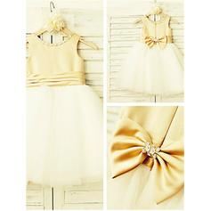 Scoop Neck A-Line/Princess Flower Girl Dresses Satin/Tulle Beading/Bow(s) Sleeveless Knee-length