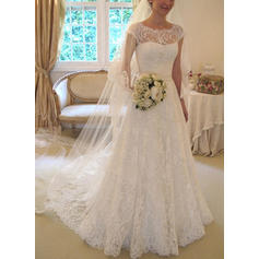 Simple Sash Bow(s) A-Line/Princess With Lace Wedding Dresses (002147868)
