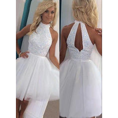 A-Line/Princess High Neck Tulle Sleeveless Knee-Length Cocktail Dresses