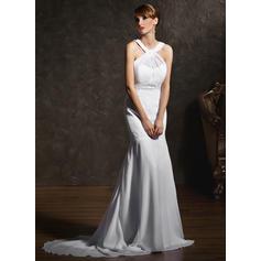 Elegant Court Train Scoop Neck Trumpet/Mermaid Chiffon Wedding Dresses (002196854)