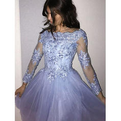 Luxurious Tulle Homecoming Dresses A-Line/Princess Short/Mini Scoop Neck Long Sleeves (022216313)