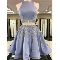 Beading A-Line/Princess Knee-Length Satin Homecoming Dresses