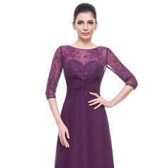 Vestidos princesa/ Formato A Decote redondo Longos Tecido de seda Renda Vestido para a mãe da noiva com Pregueado Beading lantejoulas (008056169)
