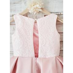 Forme Princesse Longueur genou Robes à Fleurs pour Filles - Satiné/Dentelle Sans manches Col rond avec Fleur(s) (010131735)